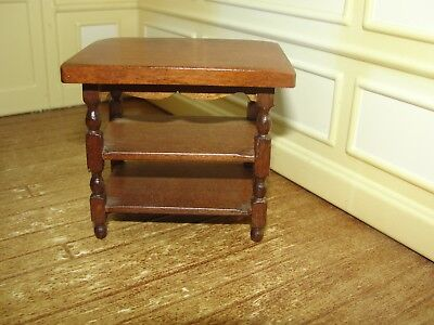 Dollhouse Miniature Wood Table w 2 Lower Shelves