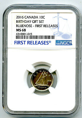 2016 Canada 10 Cent Dime Birthday Set Ngc Ms68 First Releases Population Just 11
