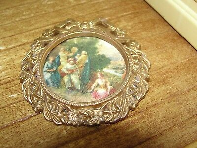 Dollhouse Miniature Gold Round Framed Fabric Picture