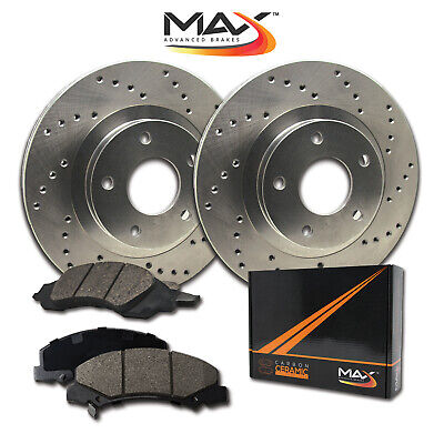 2014 2015 Fits Infiniti QX80 Cross Drilled Rotors AND Ceramic Pads Front