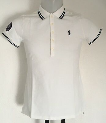 Wimbledon White Slim Fit Polo Shirt By Ralph Lauren Ladies Size Large Brand New