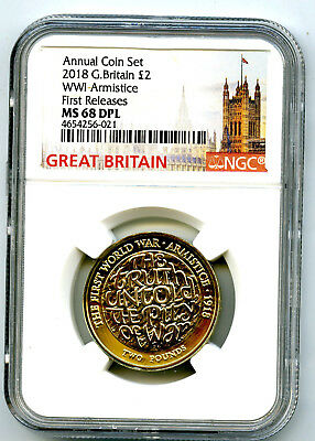 2018 Great Britain 2Pnd Ngc Ms68 Dpl World War I Wwi Armistice First Releases