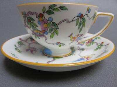 Crown Staffordshire Rare Colorful Hand Painted Art Deco Pheasant Bird Cup Saucer