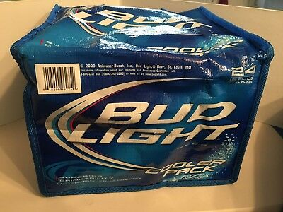Bud Light 24 Can Carry Cooler Pack Tote Lined Ice Chest Bag