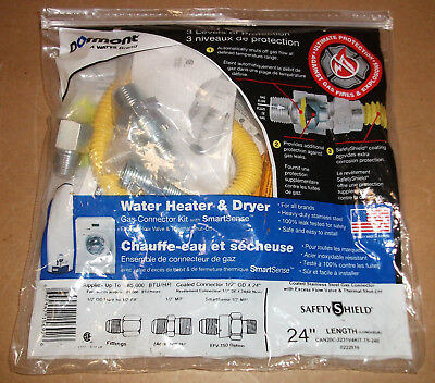 "Water Heater Dryer Gas Line Connection Kit Safety Shield 24"" Thermal/flow Valve"