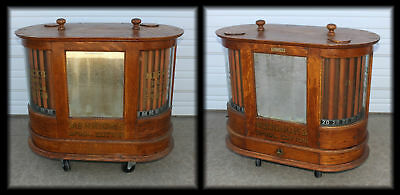 MERRICK'S SIX CORD Double Oval Curved Glass Oak Spool Cabinet ORIG Gilt Letters