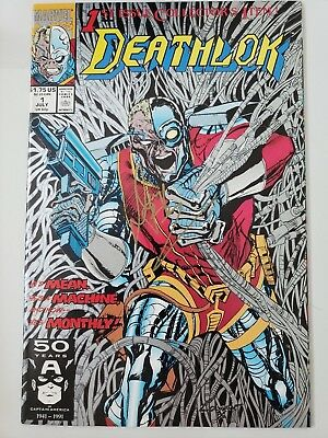 DEATHLOK #1 (1991) MARVEL COMICS SILVER INK COVER! SIGNED by DENYS COWAN! COA!