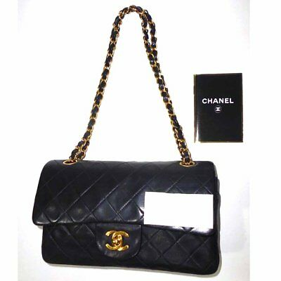 209bf7646183df Authentic Chanel Black Quilted Lambskin Classic Small 2.55 Double Flap Bag