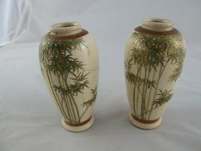 Pair Chinese Meiji period bamboo miniature vases Porcelain signed doll house