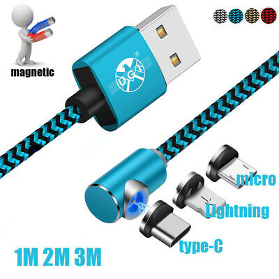 1/2/3M Strong Magnetic Micro USB C 360°&L Shape LED Lightning Charging Cable lot