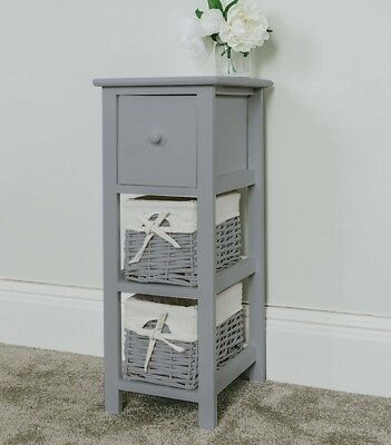 Tall Slim Bedside Table, Grey Tallboy Storage Unit Wicker Bathroom