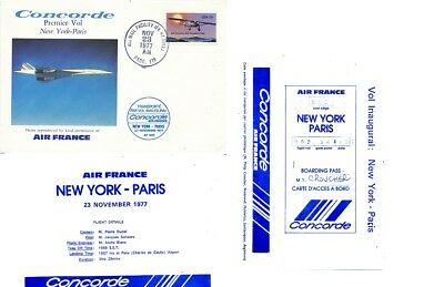 CPA PK AK FDC AVION AVIATION AIR FRANCE CONCORDE 1er VOL NEW YORK-PARIS 1977