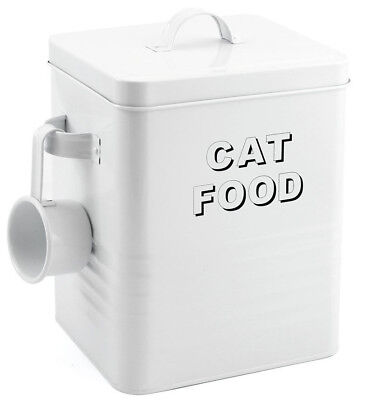 Gloss White Steel Cat Food Tin Box Ideal For Storing Dried Pet Food or Treats
