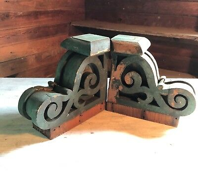 Antique 1890's Pair Wood Corbels Victorian Architectural Brackets Green 371-18