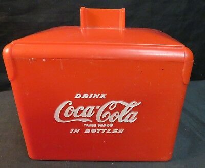 Vintage Coca-Cola Miniature/Small Red Plastic Cooler, Handle Missing, AS IS