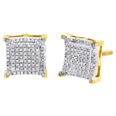 Diamond Double Halo Earrings Sterling Silver Yellow Finish 9mm Pave Studs 1/4 CT