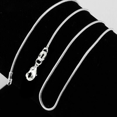 Unisex  Fashion Jewelry 925 Silver Plated Snake Chain Necklace Gift SIZE:16-30''