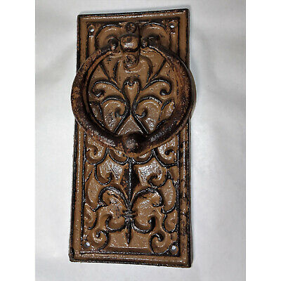 Rustic Door Knocker Metal Antique Style with Floral Pattern Heraldic Lily