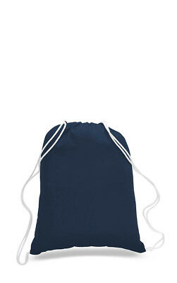 """Lot of 50 Cotton NAVY BLUE Drawstring Backpack Tote Sack Bag Wholesale 14"""" x 18"""""""