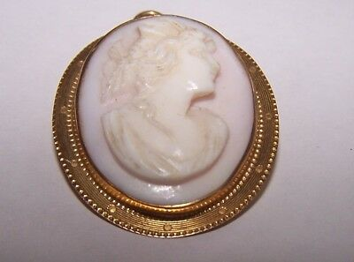 Antique Victorian Solid 10K Yellow Gold Hand Carved Cameo Pin Pendant  4.7 Grams