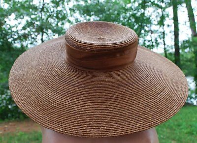 Edwardian Wide Brim Shallow Crown Straw Hat With Ribbon In Cocoa Brown