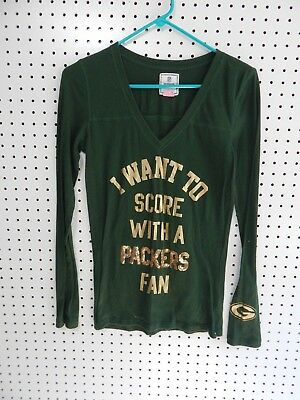 Womens NFL Victoria s Secret PINK Green Bay Packers long sleeve t-shirt -  small 98d1125f0