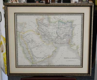 1843 Antique Map Of Persia And Arabia - Engraved By Dower - Pentonville, London