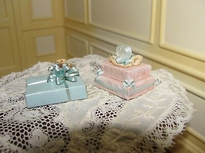 Dollhouse Miniature 2 Fancy Wrapped Gifts