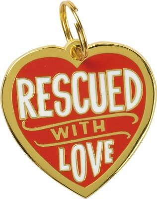 """Metal Pet Charm """" RESCUED WITH LOVE """" Dogs Pets Collar Tag  ID Gift Gifts"""