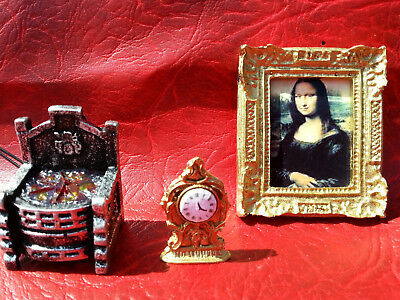 dollhouse fire grate 12v  1/12 picture in frame and a clock detailed miniatures