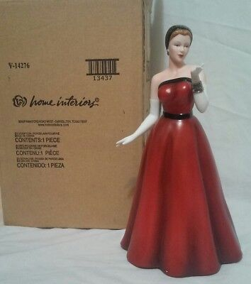 Homco Home Interiors Rising Star Red Dress Hand-Painted Porcelain Figurine