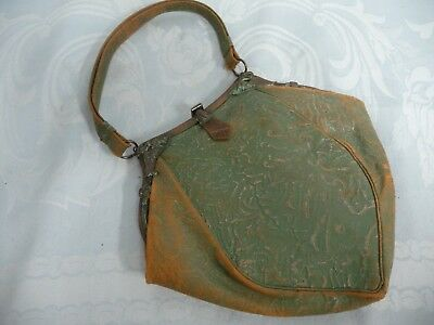 VINTAGE ARTS & CRAFTS GREEN LEATHER HANDBAG/PURSE w/COPPER FRAME, EGYPTIAN CLASP