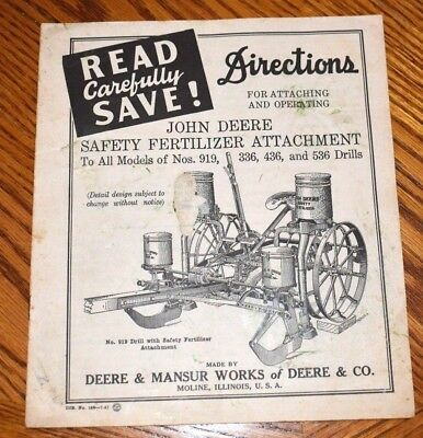 Vintage John Deere Manual Instructions Book ORIGINAL Item FERTILIZER ATTACHMENT