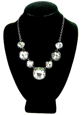 HUGE RHINESTONES NECKLACE Brilliant Cut Clear Glass Gunmetal Gray  Signed BB
