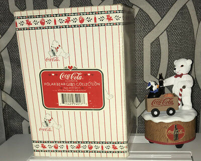 Coca Cola Polar Bear and Penguin  Musical Figurine ON THE ROAD TO ADVENTURE NIB