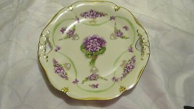 """Antique E. S. Prussia 1811 Hand Painted Floral Cake Plate w/Gold Trim 10"""" RARE"""