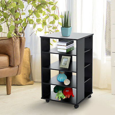 5-tier Rolling Storage Shelf Wooden Cabinet Home Book Closet Organizer Furniture