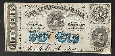 Confederate Currency - State of Alabama 50 Cents Note - 1863 - Uncirculated