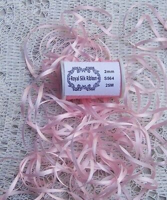 100% Silk Embroidery Ribbon 2Mm 25 Yard Spool~  Pale/Pink ~ Color