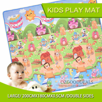 New 2x1.8m 5mm Thick Large Baby Play Mat Double Sided Animal & Alphabet & Numb
