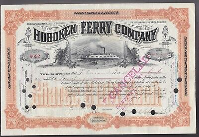 1897 Stock certificate issued to LEHMAN BROTHERS - Hoboken Ferry  - 25 shares