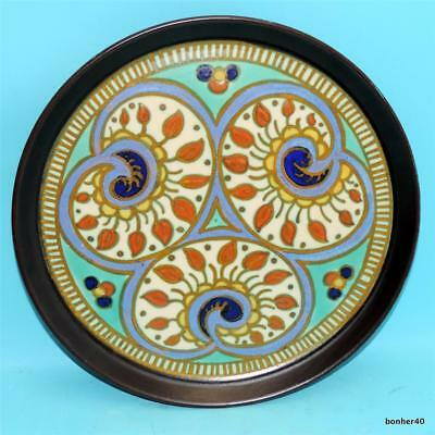 Vintage Art-Crafts Gouda Zuid-Holland Dutch Folk Art Deco Platter Tray Plate