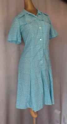 SASSY BLUE & WHITE CHECK Vintage 1960s MOD SCOOTER GIRL DROP WAIST DRESS