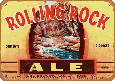 "1934 Rolling Rock Ale Rustic Retro Metal Sign 7"" x 10"""
