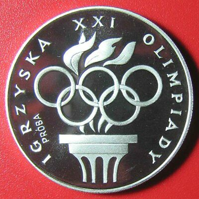 "1976 Poland 200 Zlotych ""proba"" Silver Proof Olympic Rings Torch M=6,048 Coins!"