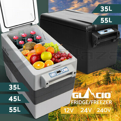 Glacio 35/45/55L Portable Fridge Freezer Cooler 12/24/240V Camping Grey Black