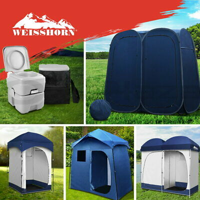 WEISSHORN Pop Up Double Camping Shower Tent Portable Toilet Outdoor Change Room