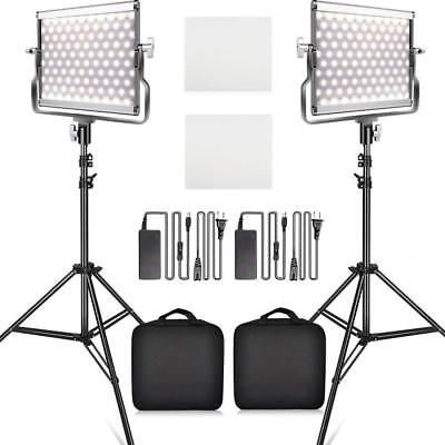 TRAVOR 2 Pack Dimmable Bi-color LED Video Light and Stand Lighting Kit