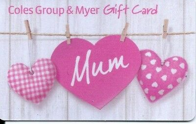 Coles group & Myer mum gift card no cash value just a collectible card --