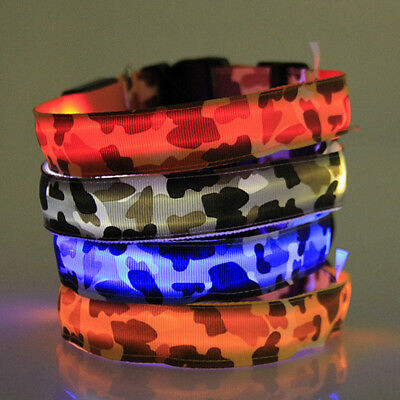Pet Dog Collar Safety Glow Luminous LED Flashing Lights Neck Strap Gifts #